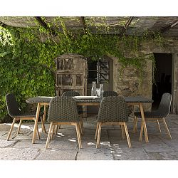 Wicker and Teak Dining Table and Chairs