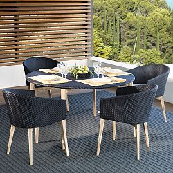 Arc Wicker and Teak Outdoor Dining Table and Chairs