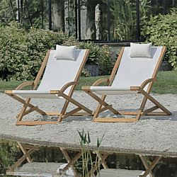 Folding Teak Chair and Ottoman