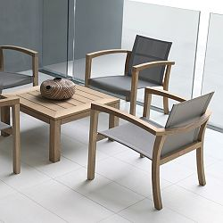 XQI Teak Table and Casual Chair