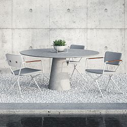 Conix Concrete Table and Exes Chairs