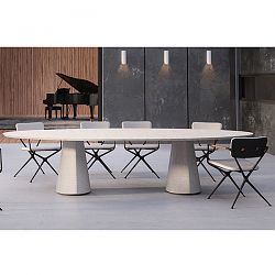 Conix Oval Concrete Table and Exed Chairs