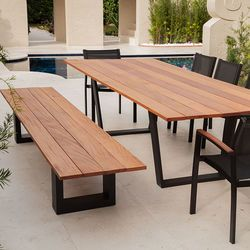 Faux Wood Outdoor Dining Table or Bar Height Table