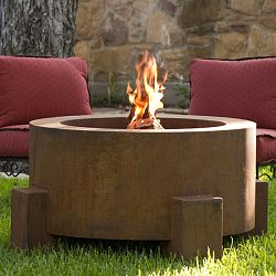 The Round Weathering Steel Outdoor Fire Pit