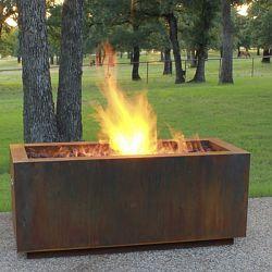 Rectangular Weathering Steel Outdoor Fire Pit