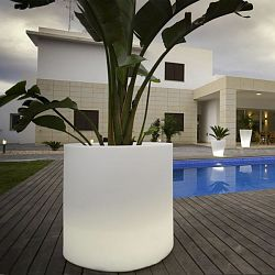 Illuminated Cylinder Outdoor Planter