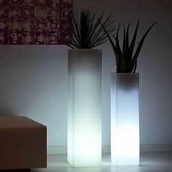 Illuminated Square Tower Outdoor Planter