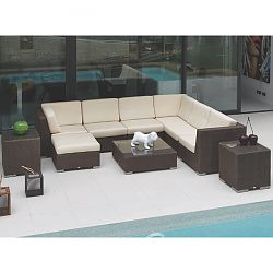 Pacific Contemporary Sectional in Chocolate Wicker