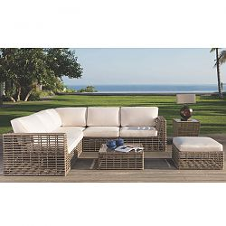 Topaz Sectional Seating in Gray Wicker