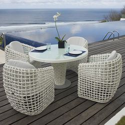 Dynasty White Wicker Round Dining Table and Chair Collection
