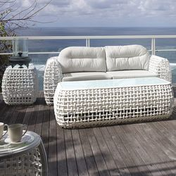 Dynasty White Wicker Sofa Collection