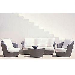 Rausch Eden Roc Silver Wicker Sofa and Lounge Chairs