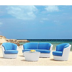 Rausch Eden Roc White Wicker Sofa and Lounge Chairs